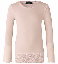 Rosemunde Long Sleeve Top - Rib - Vintage Powder w. Lace