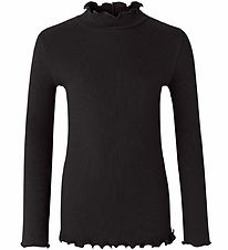 Rosemunde Long Sleeve Top - Rib - Black