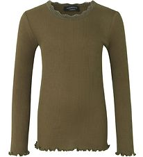 Rosemunde Long Sleeve Top - Silk/Cotton - Rib - Military Olive w