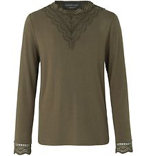 Rosemunde Long Sleeve Top - Military Olive w. Lace