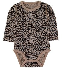 Hust and Claire Bodysuit l/s - Bitte - Wool/Silk - Leopard