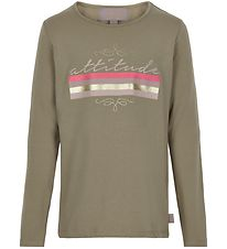 Creamie Long Sleeve Top - Attitude - Covert Green w. Print