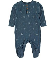 Joha Coverall w. Footies - Wool - Blue w. Squirrel