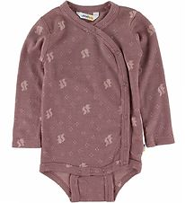 Joha Wrap Bodysuit l/s - Wool - Pink w. Squirrel