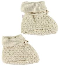 Smallstuff Booties - Wool - Offwhite/Gold