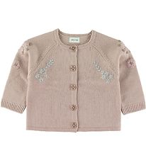 Mini A Ture Cardigan - Wool - Kerry - Cloudy Rose w. Flowers