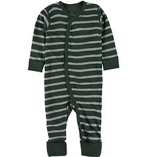 Hust and Claire Nightsuit - Wool/Bamboo - Manu - Green w. Stripe