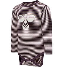 Hummel Bodysuit l/s - HMLKoral - Pink/Purple Striped