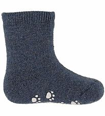 Joha Socks - Wool - Blue w. Anti-slip