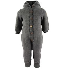 Mikk-Line Hooded Pramsuit - Wool - Anthracite Melange