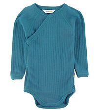 Joha Wrap Bodysuit l/s - Wool - Blue