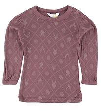 Joha Long Sleeve Top - Bordeaux w. Print