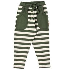 Katvig Trousers - Army Green w. Stripes