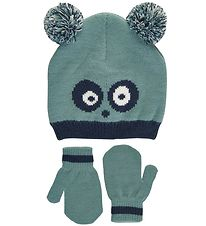 Color Kids Hat w. Mittens - Knitted - Mineral Blue