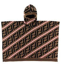 Fendi Poncho - Wool - Brown w. Logo