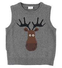 Hust and Claire X-Mas Vest - Knit - Prince - Grey w. Reindeer