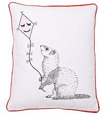 Bloomingville Cushion - 50x40 - White/Red w. Ferret