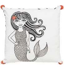 Bloomingville Cushion w. Pom-pom - 50x50 - White w. Mermaid