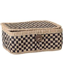 Bloomingville Basket w. Lid - 30x25 cm - Brown Checkered