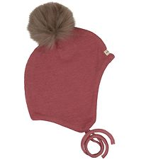 Racing Kids Hat - Wool/Cotton - Pink w. Pom-Pom