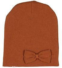Racing Kids Beanie - Double Layer - Burnt Orange w. Bow