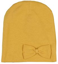 Racing Kids Beanie - 2-layers - Mustard w. Bow