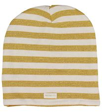 Racing Kids Beanie - 2-layers - Mustard w. Stripes/Glitter