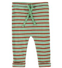 Noa Noa Miniature Leggings - Rib - Art Green w. Stripes