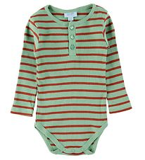 Noa Noa Miniature Bodysuit l/s - Rib - Art Green w. Stripes