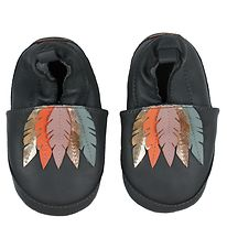 Melton Soft Sole Leather Shoes - Navy w. Feathers
