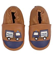 Melton Soft Sole Leather Shoes - Brown w. Police Cars