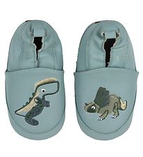 Melton Soft Sole Leather Shoes - Dusty Blue w. Dinosaurs