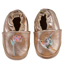 Melton Soft Sole Leather Shoes - Copper w. Flower/Hummingbird
