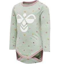 Hummel Bodysuit l/s - hmlElla - Dusty Green w. Insects
