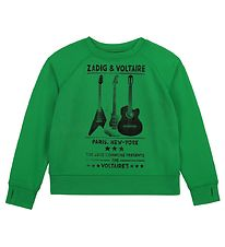 Zadig & Voltaire Sweatshirt - Young Fre - Lime w. Guitar