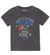 Zadig & Voltaire T-shirt - Young Rebel - Slate Blue w. Guitar