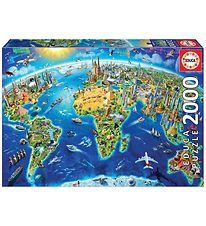 Educa Puzzle - 2000 Pieces - World Landmarks Globe