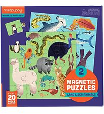 Mudpuppy Magnetic Puzzle - 20 pcs - Land and Sea Animals