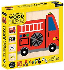 Mudpuppy 4 Layer Wood Puzzle - Transportation