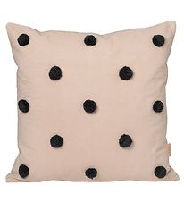 ferm Living Cushion - 48x48 - Sand Black w. PomPom