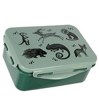 Petit Monkey Lunchbox - Black Animals - Dusty Green