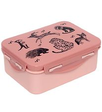 Petit Monkey Lunchbox - Black Animals - Pink