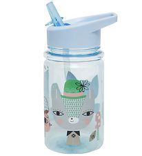 Petit Monkey Water Bottle w. Spout - 400 ml - Blue w. Lama
