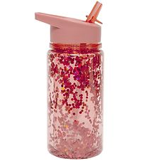 Petit Monkey Water Bottle w. Spout - 300 ml - Peach w. Glitter