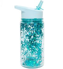Petit Monkey Water Bottle w. Spout - 300 ml - Blue w. Glitter