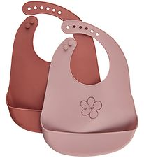 CeLaVi Bibs - 2-pack - Silicone - Redwood w. Flower
