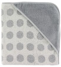 Leander Hooded Towel - Matty - 80x80 - Cool Grey w. Dots