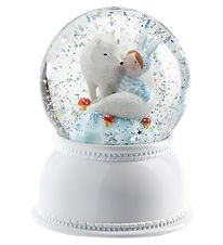 Djeco Snow Globe w. Light - 14 cm - White w. Lila & Pupi