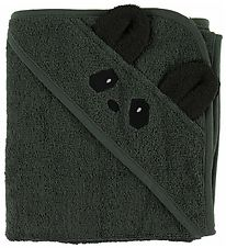 Liewood Hooded Towel - 70x70 - Albert - Panda Hunter Green