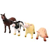 Green Rubber Toys Animals - 4-pack - 11 cm - Farm animals